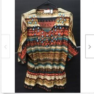 Chico's Multicolored Beaded Blouse with Elastic S